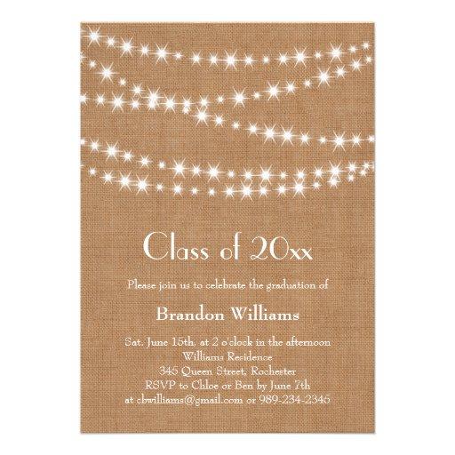 Personalized high school formal invitations custominvitations4u burlap party lights graduation invitation stopboris Image collections