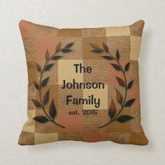 Burlap Pattern with Silhouette Family Name Throw Pillow