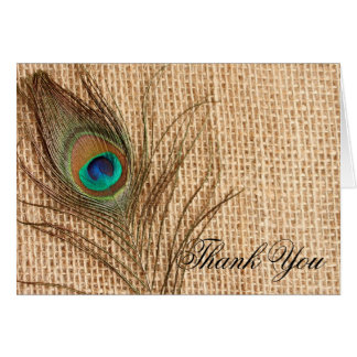 Burlap Peacock Feather Thank You Stationery Note Card