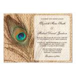 Burlap Peacock Feather Wedding Invitation