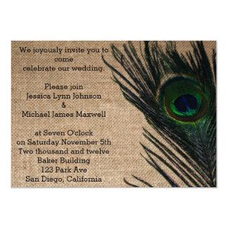 Burlap Peacock Wedding Card
