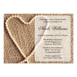 "Burlap Pearl Heart Bridal Shower Invitations 5"" X 7"" Invitation Card"