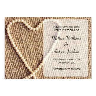 Burlap Pearl Heart Save the Date Announcement