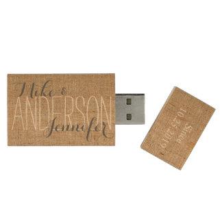 Burlap Personalize Wedding Names Date Gift Wood USB 2.0 Flash Drive