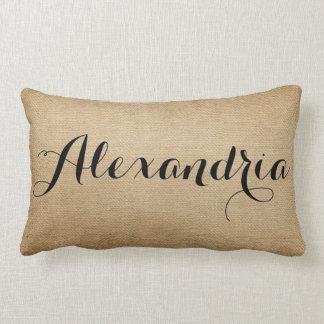 Burlap Personalized Name Throw Pillow