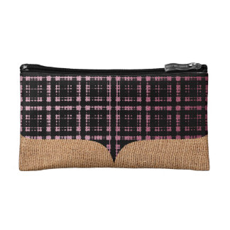 Burlap Pink Black Modern Plaid Netted Ombra Makeup Bag