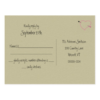 Burlap, Pink Heart Country Wedding Reply Postcads Postcard