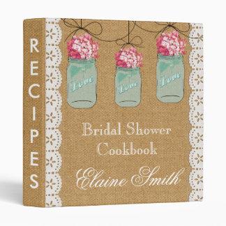 Burlap pink hydrangeas Mason Jar Recipe Folder