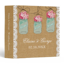 Burlap Pink Hydrangeas Mason Jar Wedding Planner Binder