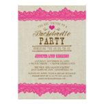 Burlap & Pink Lace Bachelorette Party Invitation