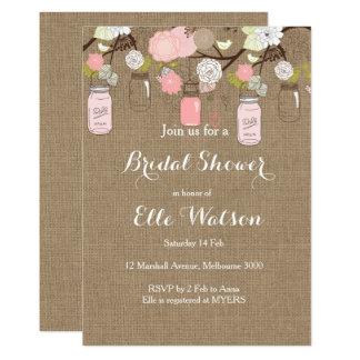 Burlap Pink Mason Jars Bridal Shower Invitation