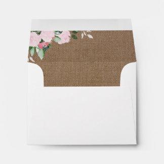 Burlap Pink Peonies Envelope Liner