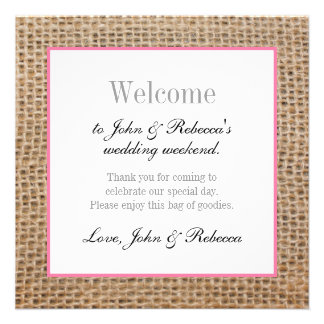 Burlap & Pink Wedding Welcome Card