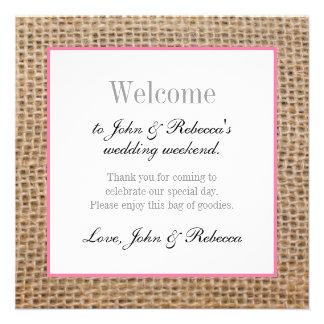 Burlap & Pink Wedding Welcome Card