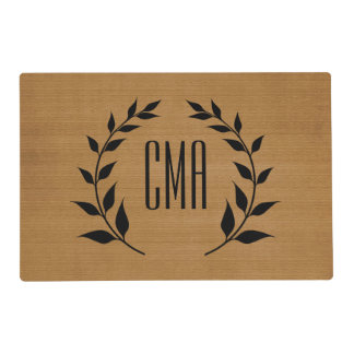 Burlap Print | Circle of Leaves | DIY Monogram Placemat