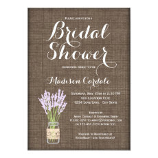 Burlap Print Mason Jar Bridal Shower Invitations