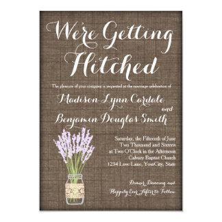 Burlap Print Mason Jar Rustic Wedding Invitations