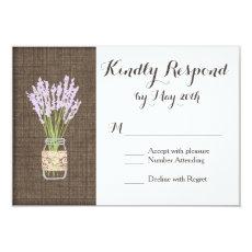 Burlap Print Mason Jar Rustic Wedding RSVP Cards