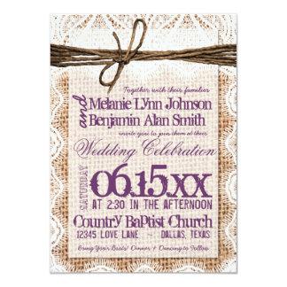 "Burlap Print Plum Typography Wedding Invitations 4.5"" X 6.25"" Invitation Card"