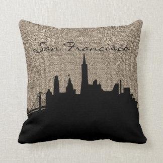 Burlap Print | Silhouette San Francisco Landmark Throw Pillow