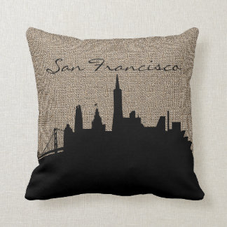 Burlap Print | Silhouette San Francisco Landmark Throw Pillow