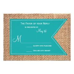 Burlap Print Turquoise Rustic Wedding RSVP Cards