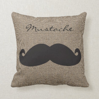 Burlap Print with Silhouette Mustache Throw Pillow