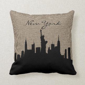 Burlap Print with Silhouette New York Landmark Throw Pillow