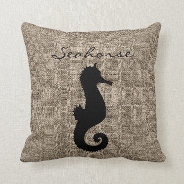 Beach Themed Burlap Print with Silhouette Seahore Throw Pillow