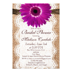 Burlap Purple Daisy Bridal Shower Invitations