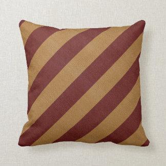 Burlap Red & Tan Stripes Throw Pillow