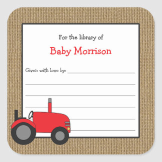 Burlap red tractor book baby shower bookplate