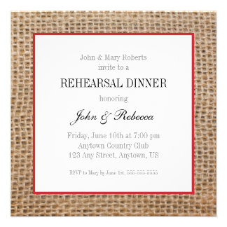 Burlap & Red Wedding Rehearsal Dinner Card