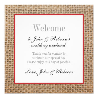 Burlap & Red Wedding Welcome Card