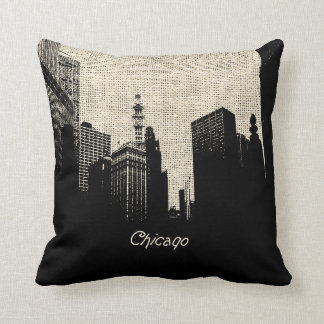Burlap Retro Chicago Throw Pillow