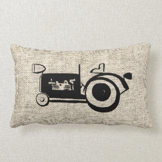 Burlap Retro Style Farm Tractor Lumbar Pillow
