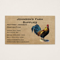 Burlap Roster Farm Supply Store Business Card