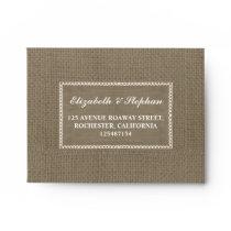 burlap RSVP envelopes for wedding parties
