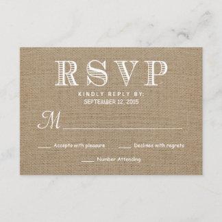 Burlap RSVP Rustic Typography Wedding Reply