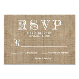 Burlap RSVP Rustic Typography Wedding Reply 3.5x5 Paper Invitation Card