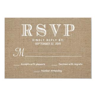 Burlap RSVP Rustic Typography Wedding Reply Card