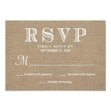 weddingtrendy Burlap RSVP Rustic Typography Wedding Reply Card