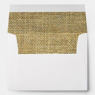 Burlap Rustic Beige Inspired Clean Modern White Envelope