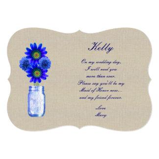 Burlap Rustic Blue Mason Jar Maid Of Honor Card Announcement