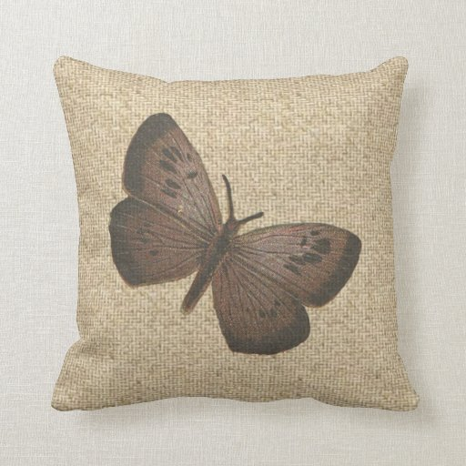 Decorative Pillows Rustic : Burlap rustic brown butterfly decorative pillow Zazzle