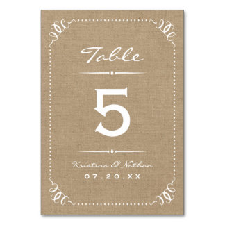Burlap Rustic Chic Table Numbers Table Cards