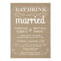 Burlap Rustic Country Wedding Invitations