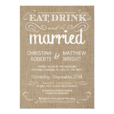 Burlap Rustic Country Wedding Invitations at Zazzle