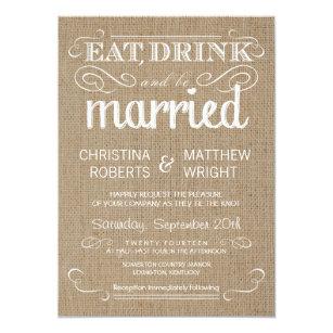 Semi formal invitations announcements zazzle burlap rustic country wedding invitations stopboris Choice Image