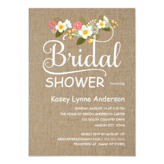 Burlap Rustic Floral Bridal Shower Card